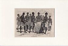 Antique matted print :portrait african musicians / music orchestra  1878 woodcut
