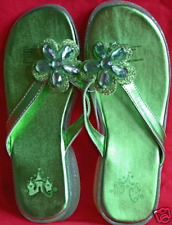 DISNEY PRINCESS FLIP FLOP THONG GREEN SANDAL SHOES LADIES GIRLS SIZE 5/6 NEW