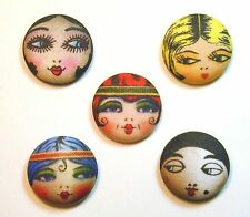 Flapper Button Set of 5 - Assorted Hand Printed- Cute US
