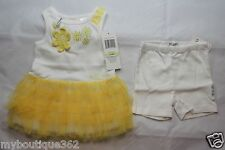 GUESS BABY GIRLS SET YELLOW MULTI SZ 3-6 MOS (TOP AND SHORT) NEW NWT