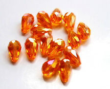 20pcs 8x12mm Faceted Cut Glass Crystal Charm Loose Spacer Teardrop Beads orange