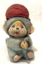 "Tiny Vintage Mohair? Antique Blue Monkey 3.5"" 1940's Lapel Clip On Animal"