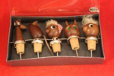 Vintage Mid Century Modern TEAK Set of 5 Figural Wine Stoppers - Denmark