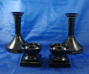 4 Vintage Black Amethyst/Cobalt Candle Holders, Art Deco, Round, Square