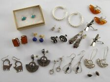 JOB LOT OF VINTAGE SOLID STERLING SILVER EARRINGS 83 g 15 PAIRS