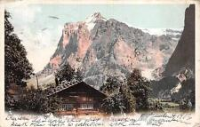 GRINDELWALD CHALET UND WETTERHORN INTERLAKEN SWITZERLAND TO USA POSTCARD 1903