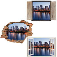 Window Wall Sticker Decal Vinyl 3D Chicago Skyline Citiscape home art room decor
