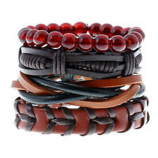 Unisex Multilayer Leather Red Glass Beads Hand-woven Bnagle Bracelet Wristband