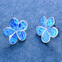 White Fire Opal Flower 5 Petals Bloom Floral Stud Earrings 925 Sterling Silver