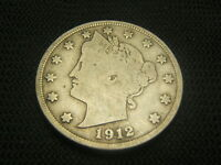 1912 D Fine Old Liberty V Nickel Barber Nickel Type Coin Free Shipping !!!!!!!!!