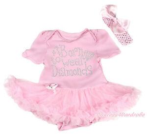 Rhinestone Born To Wear Diamonds Pink Bodysuit Pettiskirt Girl Baby Dress NB-18M