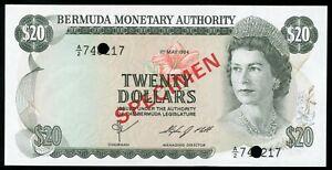 🔸BERMUDA $20 DOLLARS 1984 SPECIMEN P-31s UNC (J-025)🔸