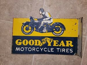 Vintage Goodyear Tires Double Sided Flange Porcelain Sign Automotive Gas