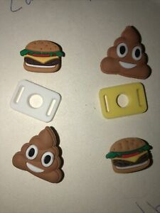 Poop Emoji + Burgers Lot Of 4 Crocs Shoe,Bracelet Charms,Jibbitz,+2 Lace Adapter