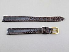 Frisson 10mm genuine exotic peru watch band strap dark brown lady's women's