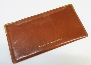 VINTAGE W HILL SON & WALLACE  BROWN LEATHER TRAVEL ORGANISER WALLET TICKETS ETC