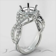 Round Semi Mount Halo Cross Shank Diamond Engagement 0.9Ct Ring 14k White Gold