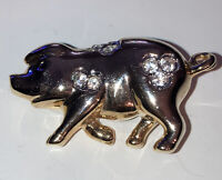 Vintage Style Costume Jewellery Crystal Pig Gold Tone Brooch