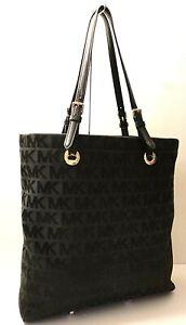 Michael Kors MK Logo Print Leather Trim Tote Office Shop Gym Shoulder Bag Purse