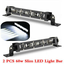 2 Pcs 8inch 60W LED Spot Work Light Bar Car Offroad SUV Single Row Driving Lamps