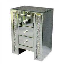 Sparkly Mirrored Furniture Glass Bedside Cabinet Table With Drawer Bedroom UK Blg-06