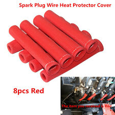 8X Red 1200° Ignition Wires SPARK PLUG WIRE BOOTS HEAT SHIELD PROTECTOR SLEEVE