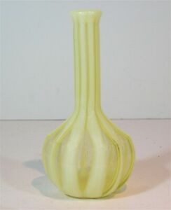 ORIGINAL ca1890s RIBBED OPALESCENT VASELINE VICTORIAN ART GLASS BARBER BOTTLE