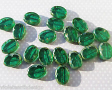Czech Table Cut Oval Slice Stone Beads, Glass, Emerald Picasso 22x17mm