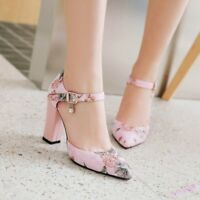 Women's Pumps Shoes Pointed Toe Mid Block Heel Buckle Strap Flower Print Party