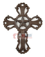 Texas Star Cast Iron Wall Cross Wall Mounted Fleur De Lis Accents Western 9.5 in