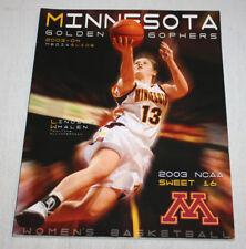 2003 2004 Minnesota Gophers Basketball Media Guide | Lindsay Whalen