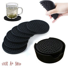 Set of 6 Silicone Drinks Coasters With Holder Non-Slip Cup Mat Pad Round Rubber
