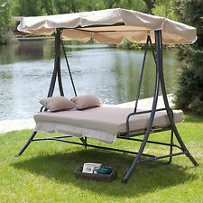 Cappuccino Beige Canopy 3 Seat Converting Patio Swing Bed Outdoor Home Furniture