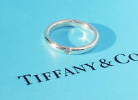 Tiffany & Co Elsa Peretti 0.02ct Diamond Sterling Silver Band Stacking Ring