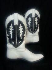 VTG 80s Capezio Cowboy Boots Shoes White Black Leather Western Riding Disco 8M