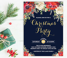 Christmas Party Invitation Holiday Invite Watercolour Red Floral Navy Faux Gold