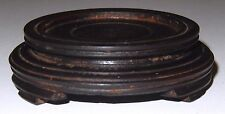 Antique Chinese Hard Wood Stand Signed Hand Carved Stacked Feet - No1