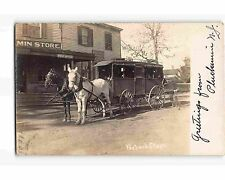 ST1984:  PEAPACK NJ STAGE COACH AT PLUCKAMIN STORE & PO Great RPPC (1908PM)