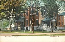 Waterloo New York~Court House And Jail~Man on Steps~1906 Postcard