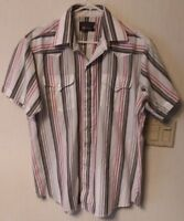 Vintage Western Panhandle Slim Striped Pearl Snap Button Mens Dress Shirt XL