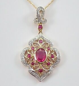 2 CT RUBY ENGAGEMENT & WEDDING DROP PENDANT WITHOUT CHAIN 14K YELLOW GOLD PLATED
