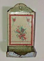 Vtg Tin Litho Kitchen Wall Toothpick Dispenser Rose Bouquet Shabby Chic Decor