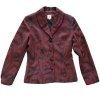 Lisa Barron Size 12 Red & Black Business Work Blazer Jacket Women's