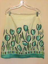 7336)  TALBOTS sz 12 green black straight skirt cotton w/stretch at knee floral