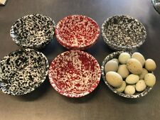 Brand New Speckled Grey And White Enamel Bowls 4 Set Crow Canyon