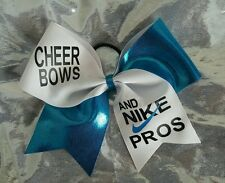 "Cheer Bows and Nike Pros Hair Bow 3"" Ribbon Blue and White Cheerleading Handmade"