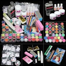 42 Acrylic Powder Liquid Nail Art Kit Glitter UV Gel Glue Tips Brush Set Hot MT