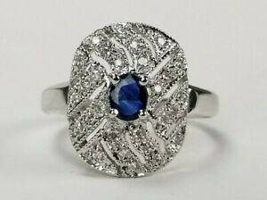 14K WHITE GOLD Blue Sapphire & Diamond Ring by Behzad Sarhady SBT 3.1g s7.5