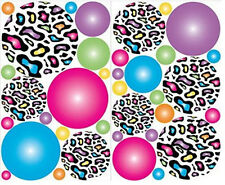 CIRCLES Leopard animal print wall stickers 36 colorful decals radial polka dots