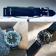 20mm  handmade DEEP BLUE cowhide tanned Leather Strap Leder bracelet cinturino